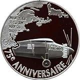 2002Francia Plata con moneda de prueba COA–Lindbergh 75Anniversarry vuelo Atlántico