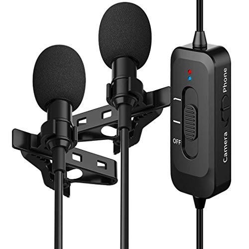 Professional Lavalier Lapel Microphone Omnidirectional Condenser Grade Noise Reduction Audio lavalier Mic with USB Charging for iPhone/Android/PC/Camera for Interview, YouTube, Video Conference