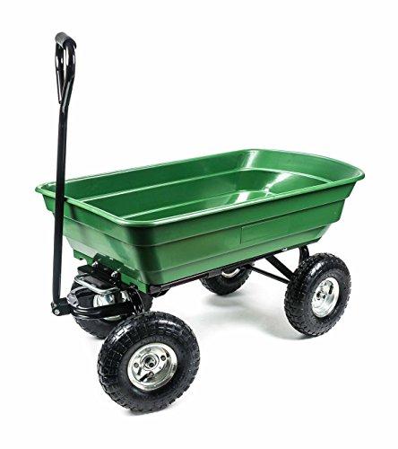 Bubble-Store Garten Transportwagen mit Kippfunktion, 4 Luftreifen, Griff gepolstert, Wanne geschlossen, wendig, geländegängig, vielseitig, Zuladung max. 200 kg