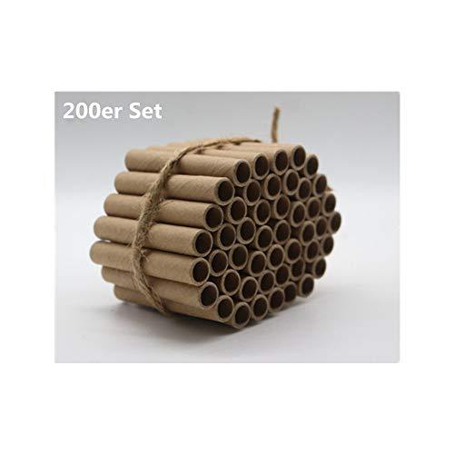 Super Idee 200er Set Pappröhrchen füllung 60mm Länge für Insektenhotel Insektenhaus Wildbienen Nisthilfe Wildbienenhotel Wildbienenhaus Bienenhotel Hummelhotel Hummelhaus Füllmaterial Bienenkasten