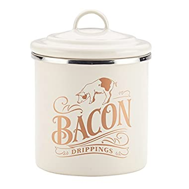 Ayesha Curry Enamel on Steel Bacon Grease Can, 4-Inch by 4-Inch, French Vanilla