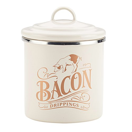 Ayesha Curry 47417 Enamel on Steel Bacon Grease Can / Bacon Grease Container - 4 Inch, White