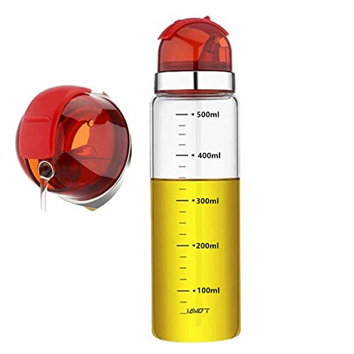 Zhiyangmaoyi ドレッシングボトル オイルボトル 醤油差し スパイスボトル オイルポット 耐熱ガラス 調味料入れ 500ml 赤