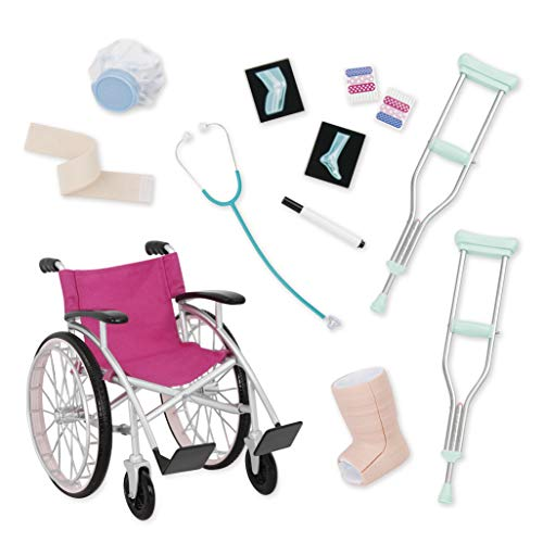 Battat 44981 Our Generation Medical Pflege-Set mit Rollstuhl, Krücken und mehr, bunt