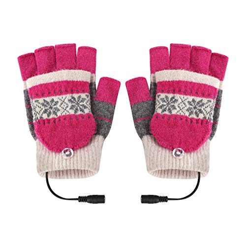 Ylucky Winter USB Heated Gloves Cute Toast Hand Warmers Fingerless Heated Typing Gloves New Laptop No Finger Mittens Wearable Phone Computer Gloves for Unrestricted Typing, Gaming, Crafting