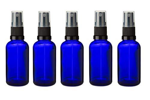 5 PCS 30ml bouteille en verre bleu avec le capuchon spray NOIR Pulvérisateur. Pour l'aromathérapie, art, bricolage, Premier Secours, Format Voyage Spr