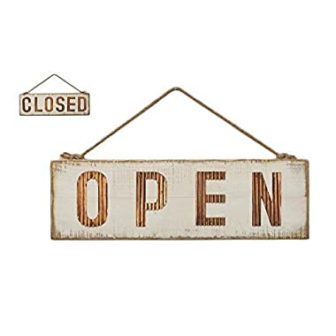 Shabby Chic Open Closed Two-Sided Sign for Store Business or Home, Wood and Metal Wall Art Décor