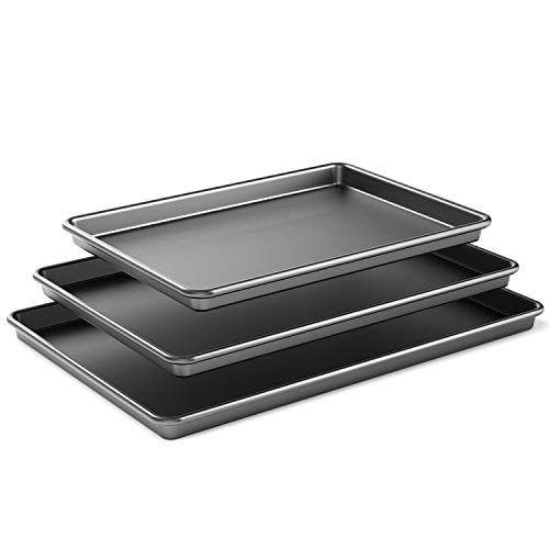 Super Thick 0.7mm Nonstick Cookie Sheet Pan, Metal Baking Tray, 3 Pack Baking Sheet Pans, Different Sizes Cookie Pan Set