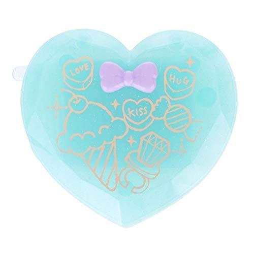 LASISZ Femmes Fille Brosse à Cheveux Pliante avec Miroir Compact Poche Format Voyage Peigne en Forme de Coeur Cadeau Mignon Mini Miroir de Poche, Vert