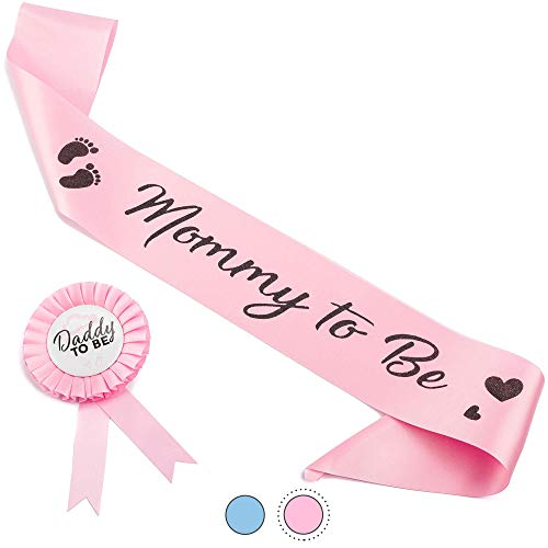 CORRURE Baby Shower Sash and Button Pin for Girl - 'Mommy to Be' Sash and 'Daddy to Be' Pin with Beautiful Pink Ribbon and Black Glitter Text - Ideal Mom and Dad Gift for Gender Reveal/Baby Shower