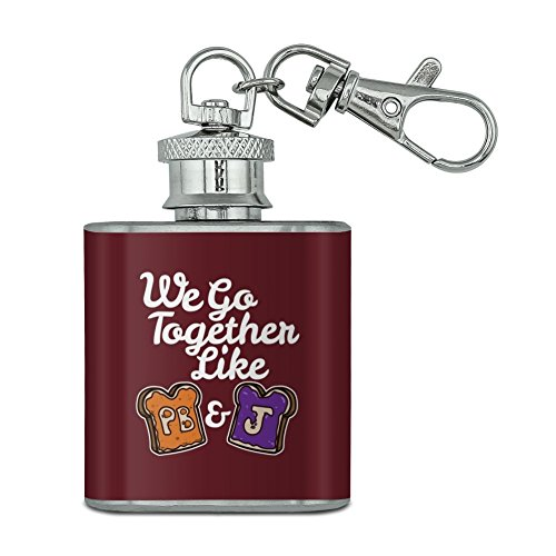 Peanut Butter and Jelly Together PB&J Best Friends Stainless Steel 1oz Mini Flask Key Chain