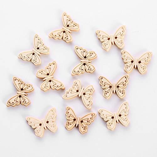 12 Unids/bolsa Botones de Costura de Mariposa de Madera Para Ropa Scrapbooking Botones de Madera Decorativos Manualidades Costura Accesorios de BRICOLAJE