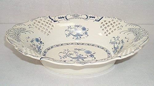 linoows Porzellan Anbietschale, Zierschale, Obstschale im Antik Stil, Zwiebelmuster