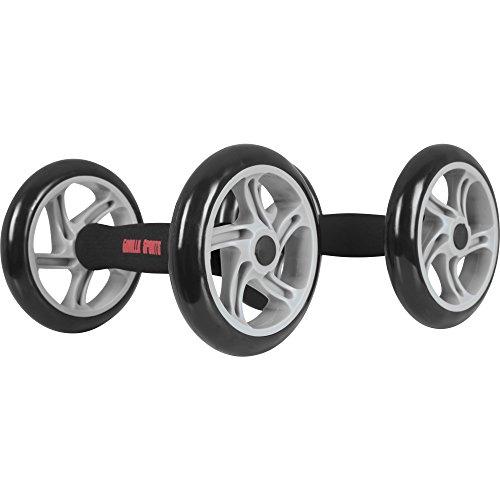 GORILLA SPORTS® Bauchtrainer Roller mit Schaumstoffgriffen Schwarz – 2er Set AB-Wheel bis 150 kg belastbar