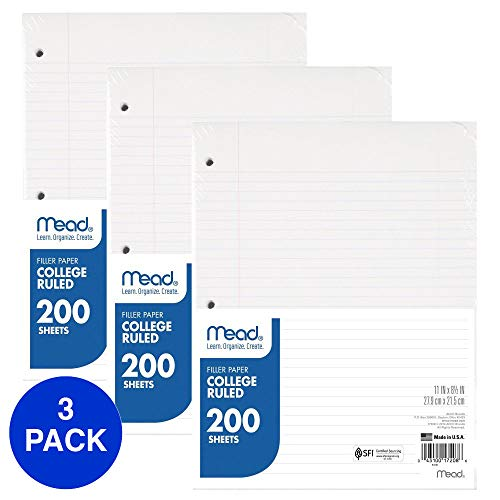 Mead Loose Leaf Paper, Filler Paper, College Ruled, 200 Sheets, 11 x 8-1/2 inches, 3 Hole Punched, 3 Pack (73189)