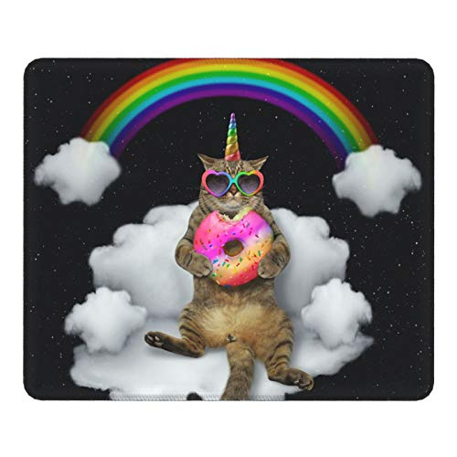Yonfro Mouse Pad The Cat Unicorn in Sunglasses with a Color Donut Non-Slip Rubber Base Gaming Mouse Pad with Stitched Edge for Computers Laptop Office & Home 11.8 X 9.8 Inch