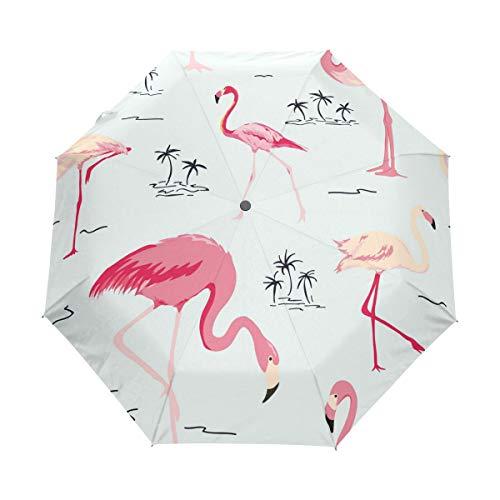 Bigjoke Regenschirm, 3-Fach faltbar, automatischer Öffnung, mit tropischem Flamingo-Muster, Winddicht, für Reisen, Leichter Regenschirm, kompakt für Jungen, Mädchen, Männer, Frauen