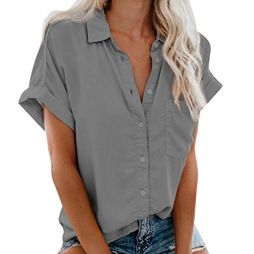 FEISI22 Womens Short Sleeve T Shirt Casual V Neck Cuffed Sleeve Button Down Collar Blouses Shirts Top with Pocket Gray