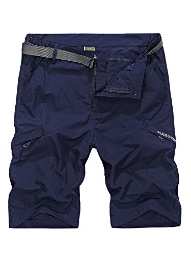 Men's Outdoor Casual Expandable Waist Lightweight Water Resistant Quick Dry Cargo Fishing Hiking Shorts,5516,Navy,US 29