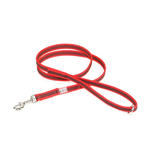 Julius-K9 218GM-R-1-2HS Color & Gray Super-Grip Leash with Handle and O-Ring, 14 mm x 1.2 m, Red-Gray