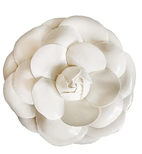 Fashion jewelry designer statement large peony flower lapel pin brooch for women (White PU)