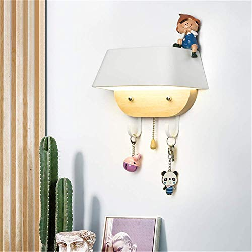 Lámparas de pared industriales, Luz de pared con 2 gancho de almacenamiento y interruptor de línea de tirón interior moderno moderno decoración creativa blanco acrílico de madera lámpara de pared lámp