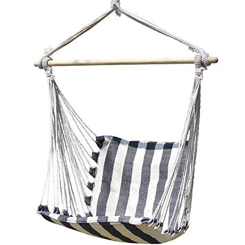 Inno Stage - Sedia a dondolo in legno con corda in cotone, per bambini comfort e durata, sedia da appendere brasiliana per cortile, camera da letto, portico, picnic, viaggio