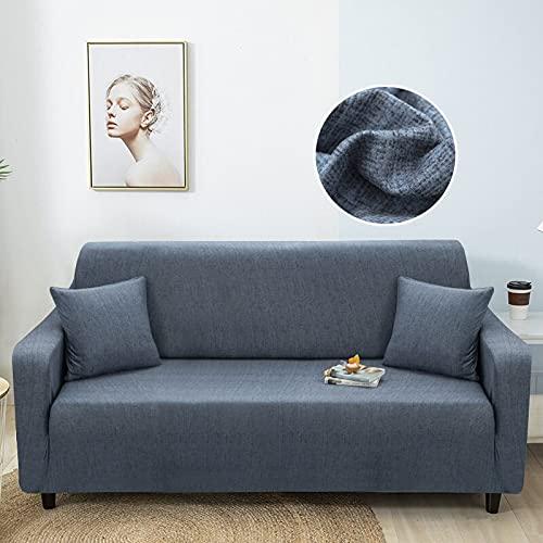 WXQY Funda de sofá elástica con patrón de Lino Funda de sofá a Prueba de Polvo con Todo Incluido Funda de sofá de Sala de Estar sillón A17 2 plazas