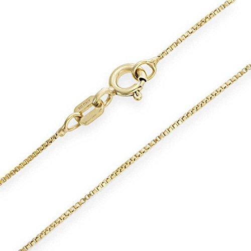 Collar cadena pulsera tobillera Tipo Veneciana Eslabón cuadrado corte de diamante de fina plata de ley 925 bañada en oro 14kt 1mm Italiano - 15 20 25 30 35 40 45 50 55 60 65 70 75 80 85 90 95 100cm