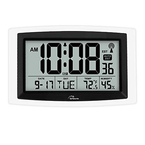 WallarGe Atomic Wall Clock, Battery Operated Digital Wall Clock, Self-Setting Desk Clock, Large Digital Display Clock with Temperature, Humidity and Date.