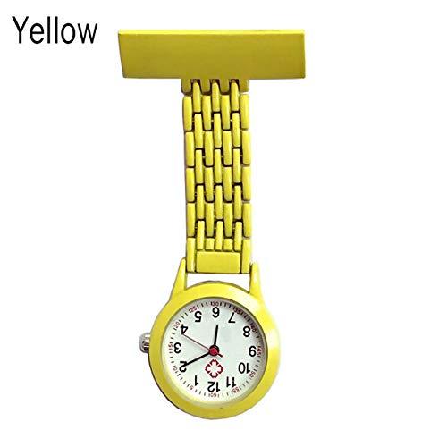 CAIDAI&YL Enfermera Reloj de Cuarzo Broche de Bolsillo Clip Médico Enfermería Reloj de Enfermería, Amarillo