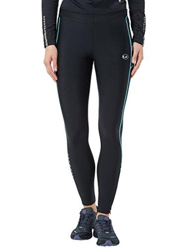 Ultrasport Pantalones largos de correr para mujer, con efecto de compresión y función de secado rápido, Negro/Turquesa, L