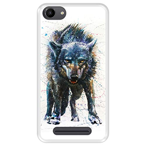 Hapdey silikon Hülle für [ Wiko Jerry - Lenny 3 - K-Kool ] Design [ Wolf, Aquarelle ] Transparenz Flexibles TPU