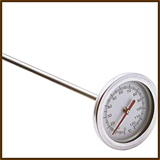 20 Inch 50cm Length 0℃-120℃ Compost Soil Thermometer Premium Food Grade Stainless Steel Metal Measuring Probe Detector - S...