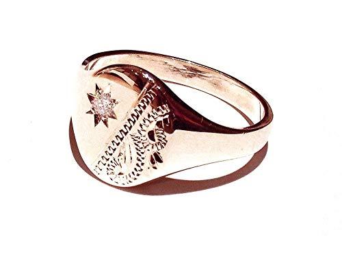 Signet Ring Diamond Men's Solid Rose Gold Gent's UK Hand Made Hallmarked Oval (U)