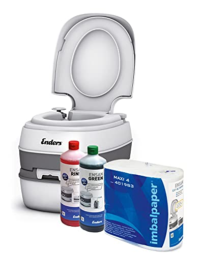 Enders Campingtoilette Starterset Green Comfort - 4944 inkl. Sanitärflüssigkeit und WC Papier - Mobile Chemietoilette Campingklo Camping-Toilette