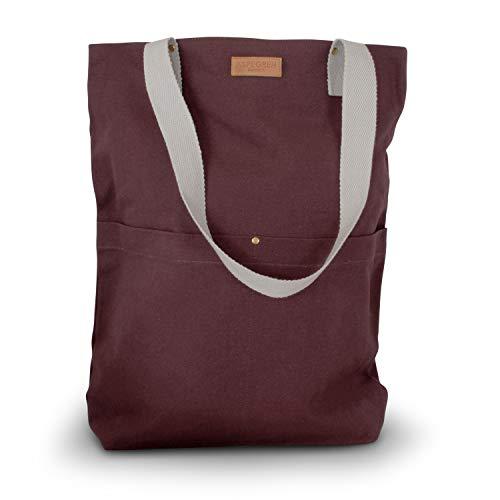 """Aspegren - Einkaufstasche groß aus 100% Baumwolle (Canvas/Leinen) """"Mano Dark Wine"""" inkl. Giveaway, Tragetasche mit Reißverschluss an Innentasche, Canvastasche in rot mit Lange Henkel zum Umhängen"""