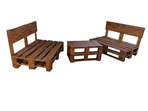 2 x Sofá de Palets + 1 Mesa de Palets Nogal - Set de Muebles de Jardin Sillones y mesas de pallets
