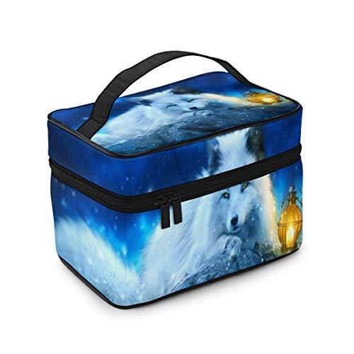 RTBB Fox acostado en piedra bolsa de cosméticos portátil con asa de doble cremallera bolsa de maquillaje de viaje bolsa de almacenamiento para niñas