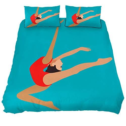 MUMIMI Juego de funda de edredón decorativa de 3 piezas con 2 fundas de almohada, gimnasia rítmica y artística, cuatro tamaños