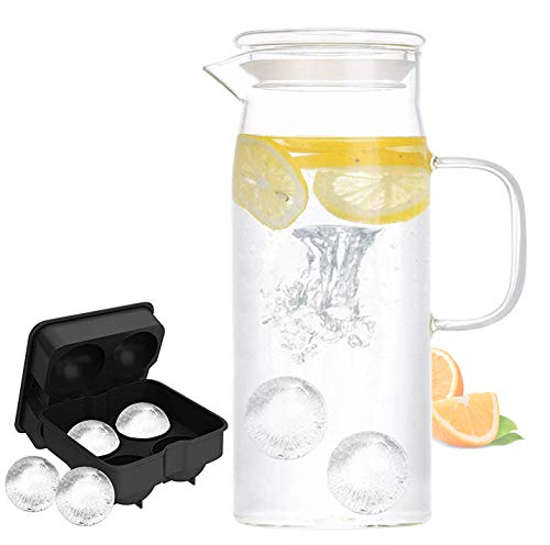 Glass Pitcher with Lid - High Heat Resistance Stovetop Safe Pitcher for Hot/Cold Water & Iced Tea
