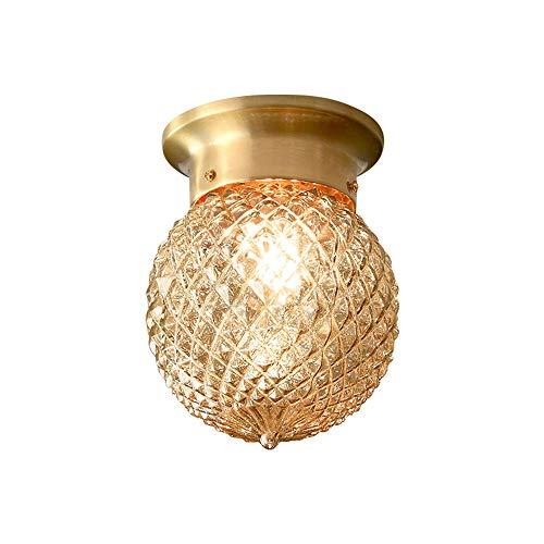 Moderne ronde plafondlamp, plafondlamp, kristal, creatief interieur, plafondverlichting, verlichting, fitting E27, voor woonkamer, slaapkamer, eetkamer Ø14 cm (goud)