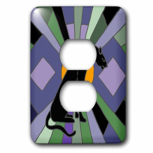 3D Rose LSP_251941_6 Fun Artistic Cool Black Panther Cat Art Deco 2 Plug Outlet Cover