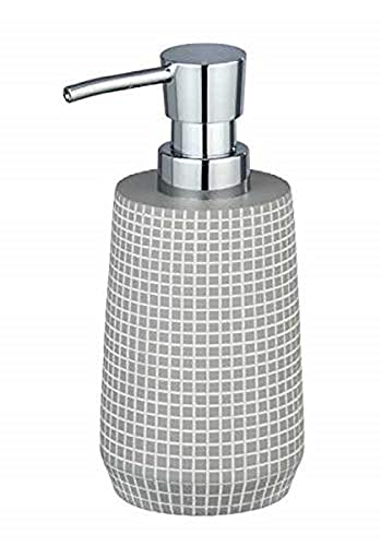 WENKO Dosificador de jabón Ohrid gris - Dispensador de jabón líquido Capacidad: 0.27 l,...