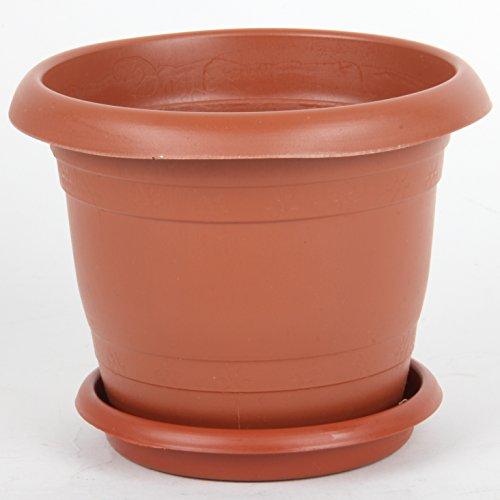 Antik Saksi Pot de fleurs en plastique avec fond rainuré pour intérieur ou extérieur, 12–40 cm, marron, Size 7 (36 cm)