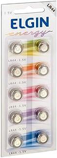 Bateria Alcalina com 10 unidades de 1, 5v tipo LR44, A76, LR1154, 357 ou AG13 Elgin, Elgin, Baterias