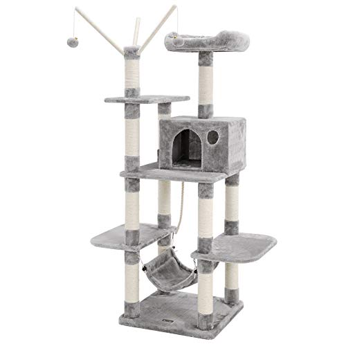 FEANDREA Cat Tree, Cat Condo with Hammock, Perch, Cat...