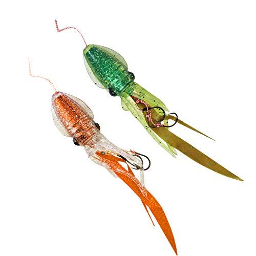 ルミカ イカ型タイラバ プニラバ 120g 2個セット 新型タイラバ フィッシング 釣り具 (チャートリュースUVオレンジ)