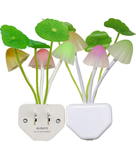 2 Pack Led Night Light w/Dusk to Dawn Sensor,AUSAYE 0.6W Plug-in Night Light Lamp, Night Lights for Kids Adults Mushroom Night Light Wall Lamps NightLight