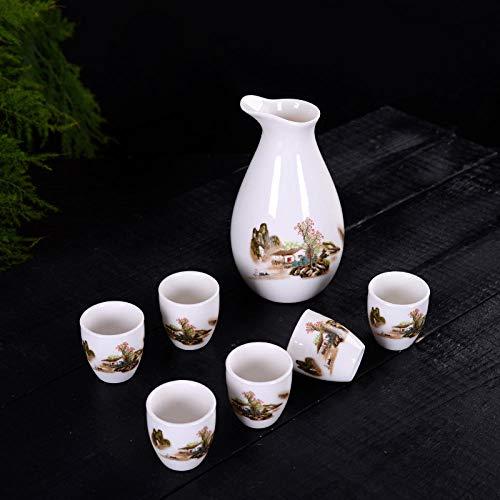 Ksnrang Juego de té, Taza de té, Juego de Vino de 7 Cabezas, dispensador de Vino de cerámica, Jarra Caliente, Jarra de Licor japonés, Copa de Vino, Logotipo Personalizado-Gente de montaña